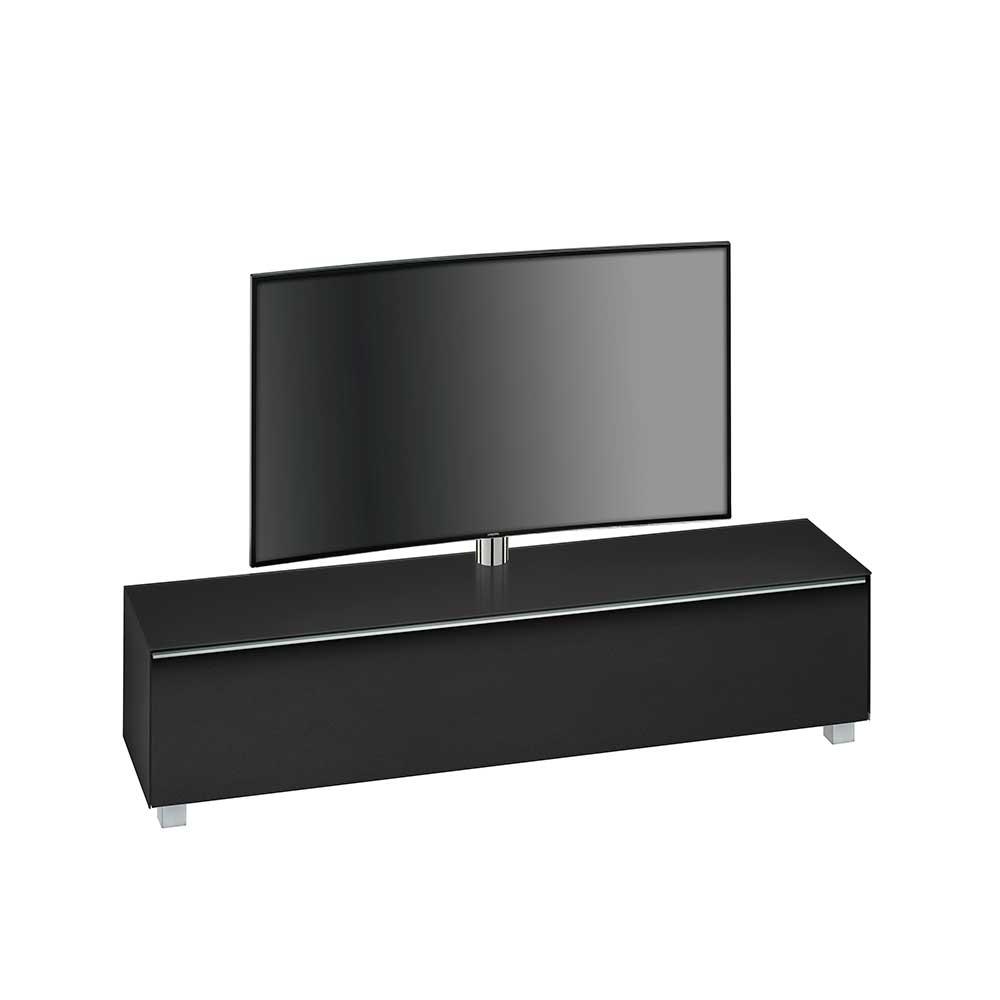 TV Lowboard in Schwarz Glas Klappe
