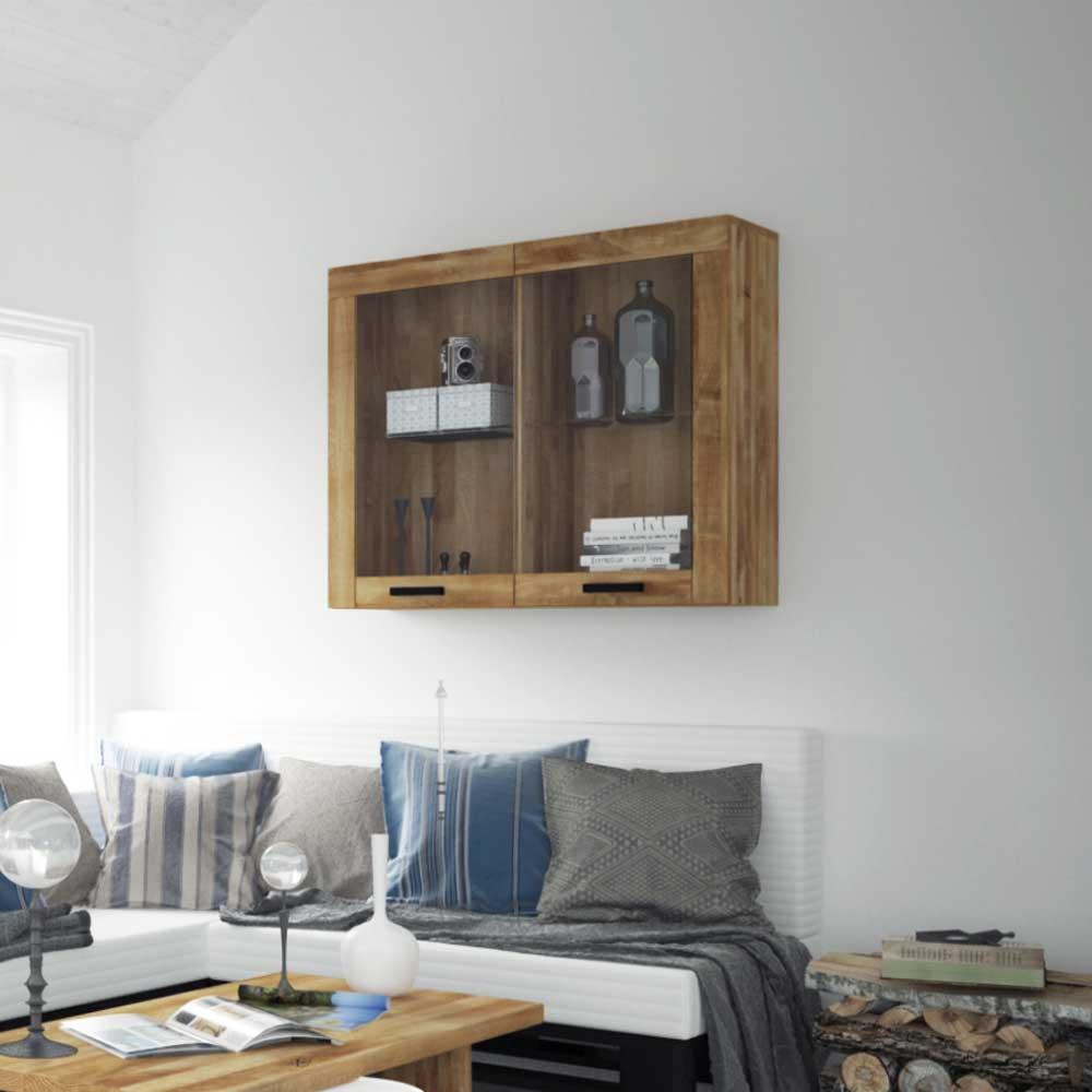 Wandvitrine aus Wildeiche Massivholz 90 cm hoch | Wohnzimmer > Vitrinen > Hängevitrinen | Holz | Massivholz | Basilicana