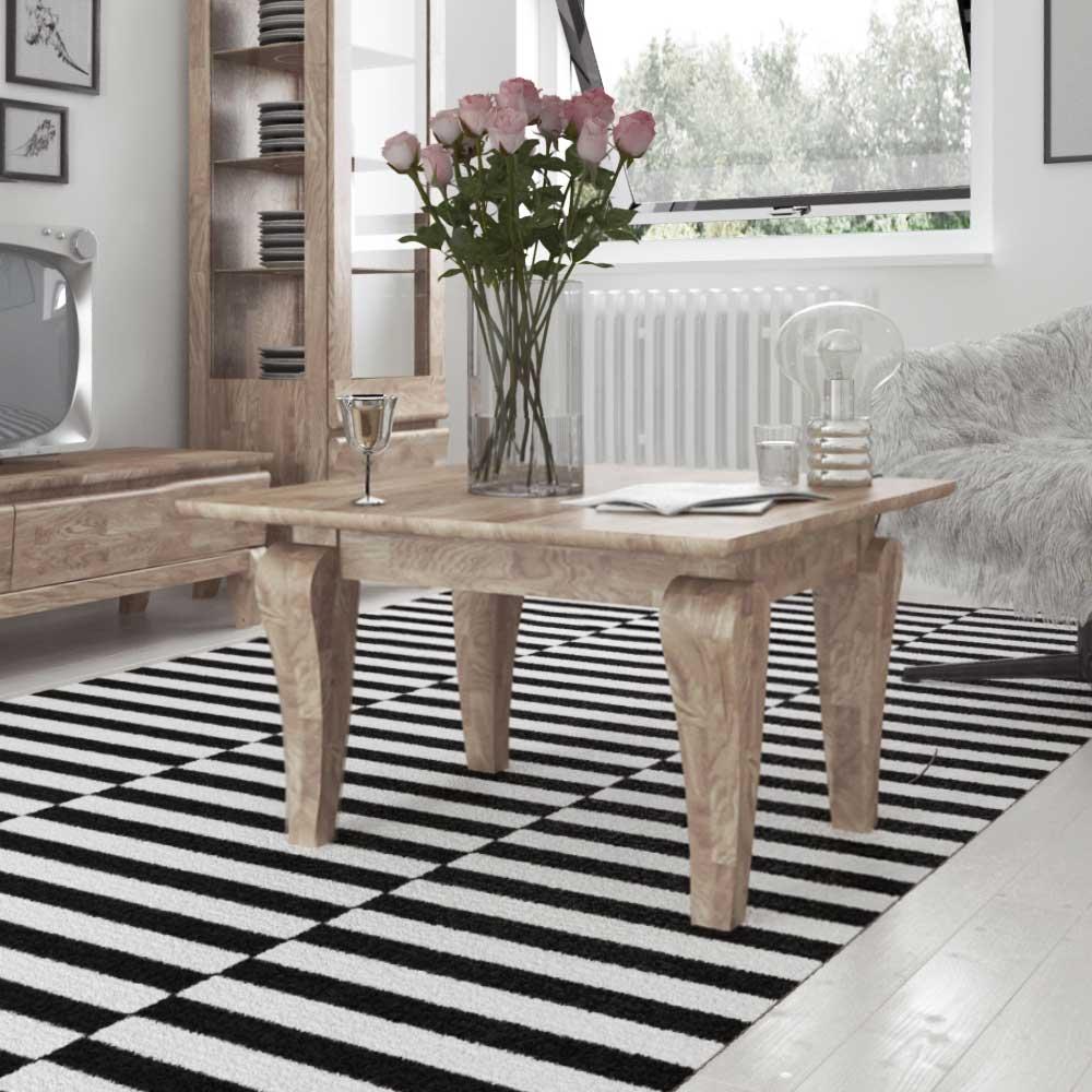 Wohnzimmer Couchtisch aus Eiche Massivholz weiß geölt