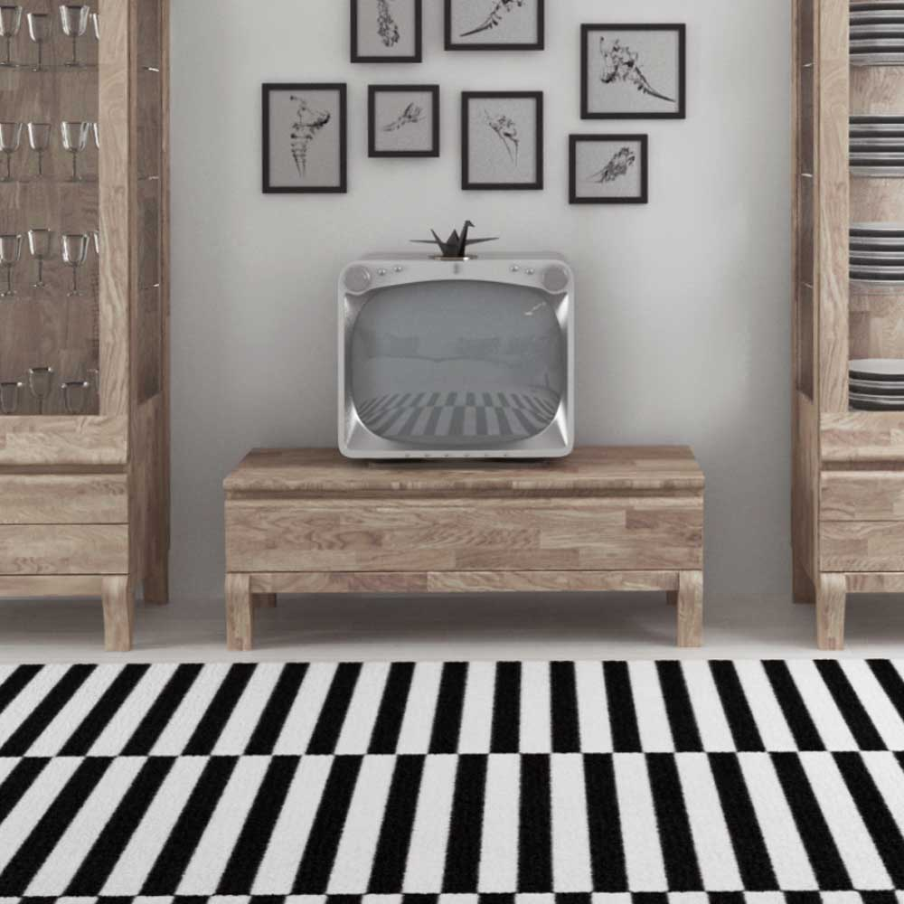 TV Board aus Eiche Massivholz Weiß geölt