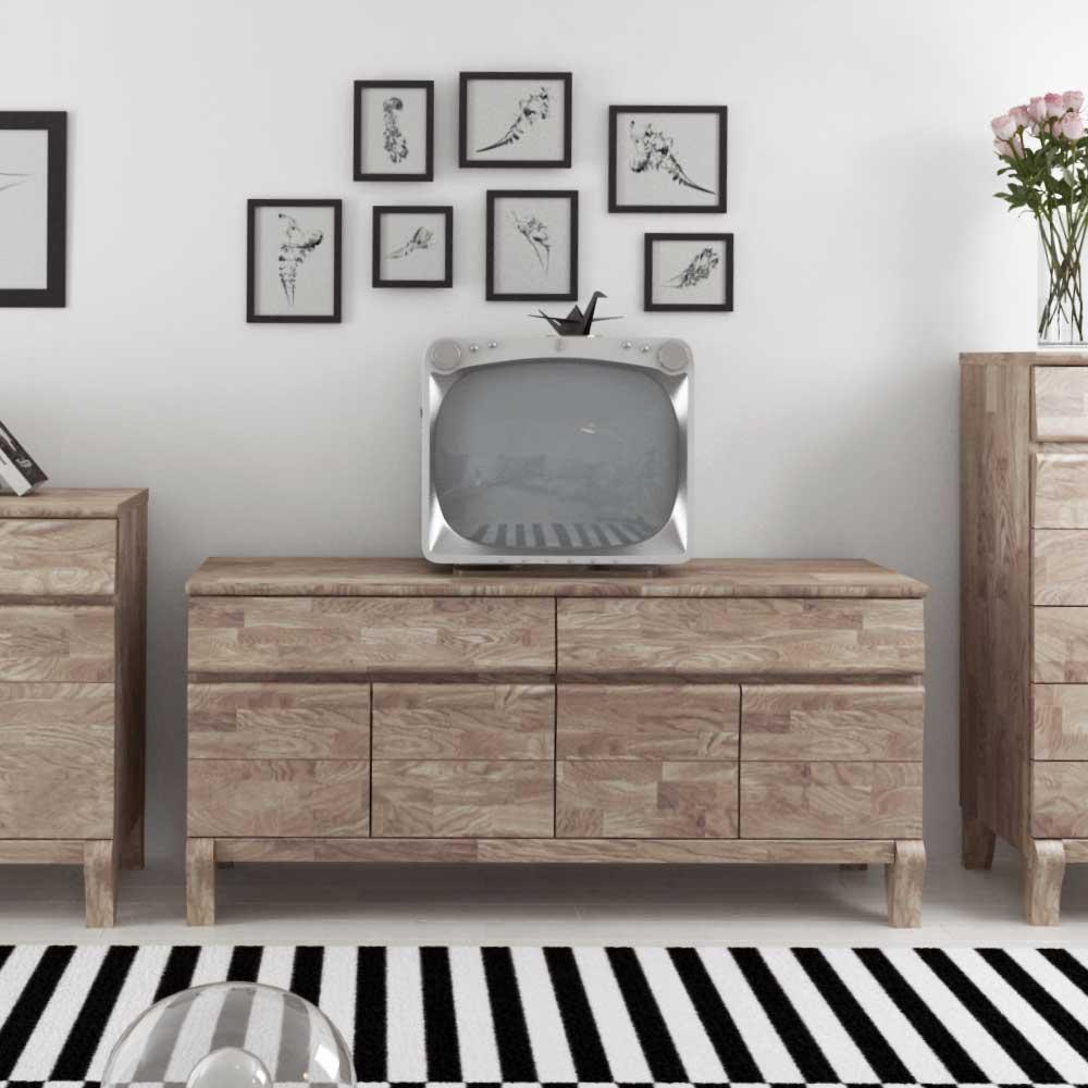 TV Sideboard aus Eiche Massivholz Weiß geölt