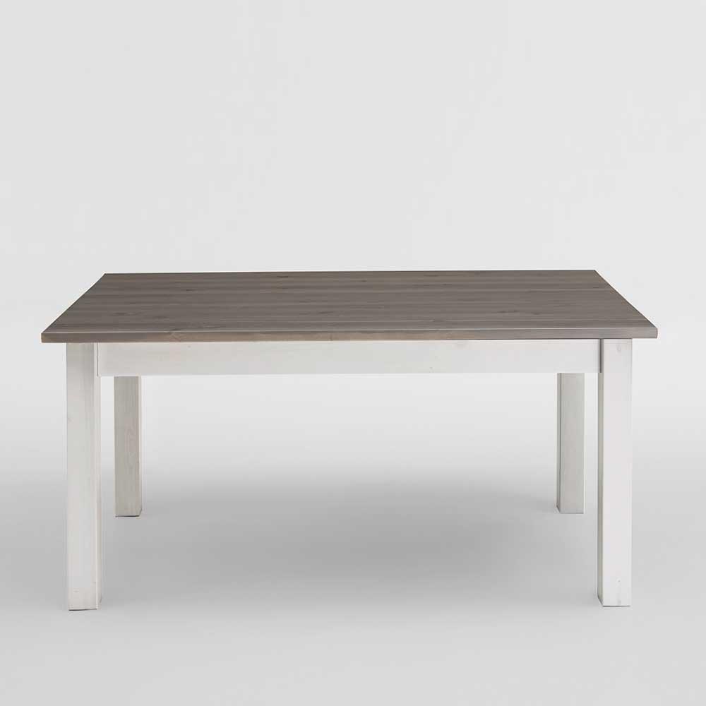 Tisch in Weiß Grau Kiefer Massivholz