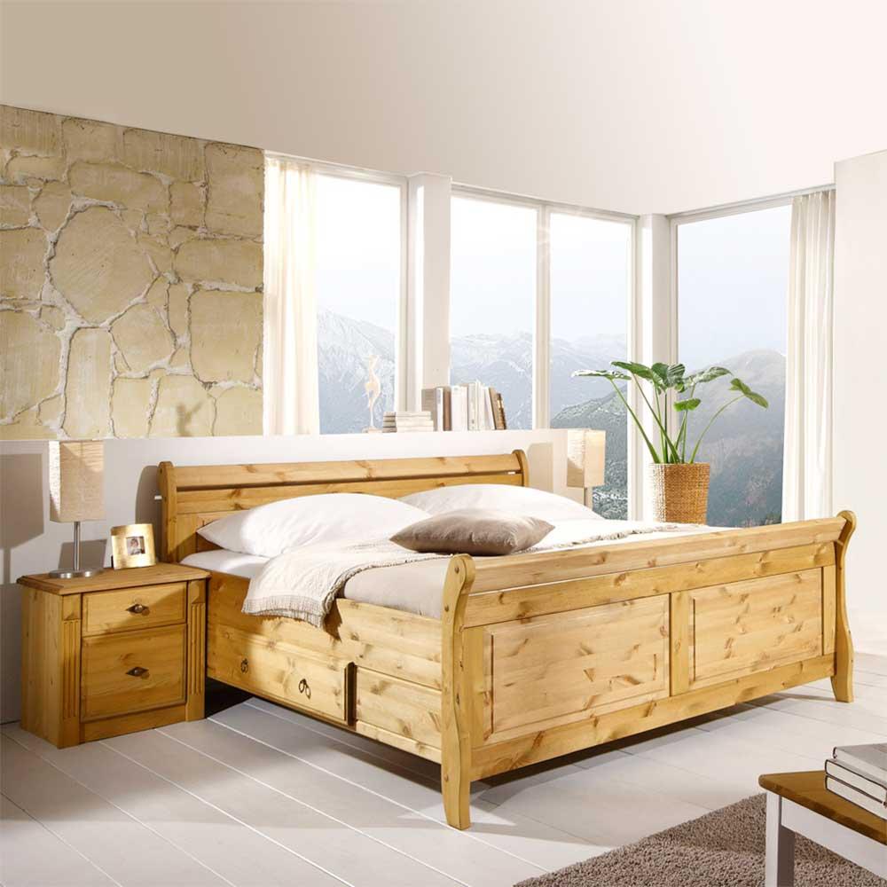 Komfortbett mit Nachtkommoden aus Kiefer Massivholz Landhaus (3-teilig) | Schlafzimmer > Betten > Komfortbetten | Holz | Massivholz | Life Meubles