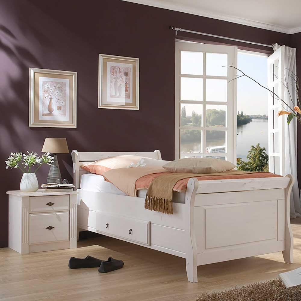 Komfortbett in Weiß Kiefer massiv Nachtkommode (2-teilig)