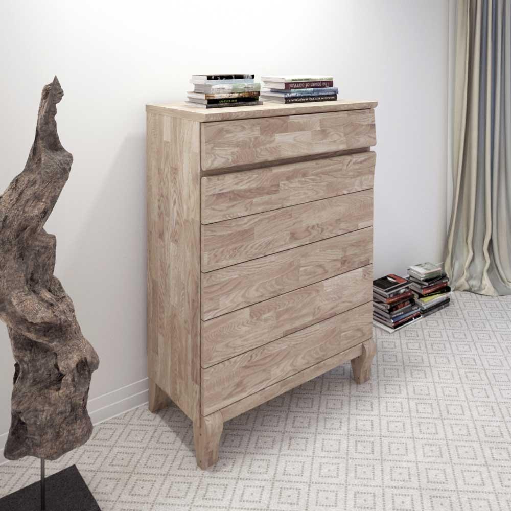 Schlafzimmer Kommode aus Eiche Massivholz Weiß geölt