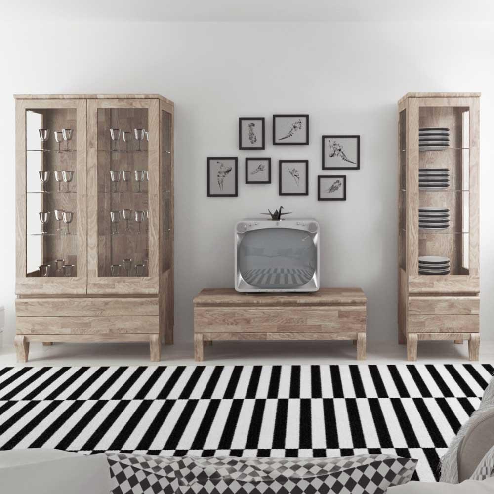 Wohnzimmer Schrankwand aus Eiche Massivholz Weiß geölt (3-teilig)