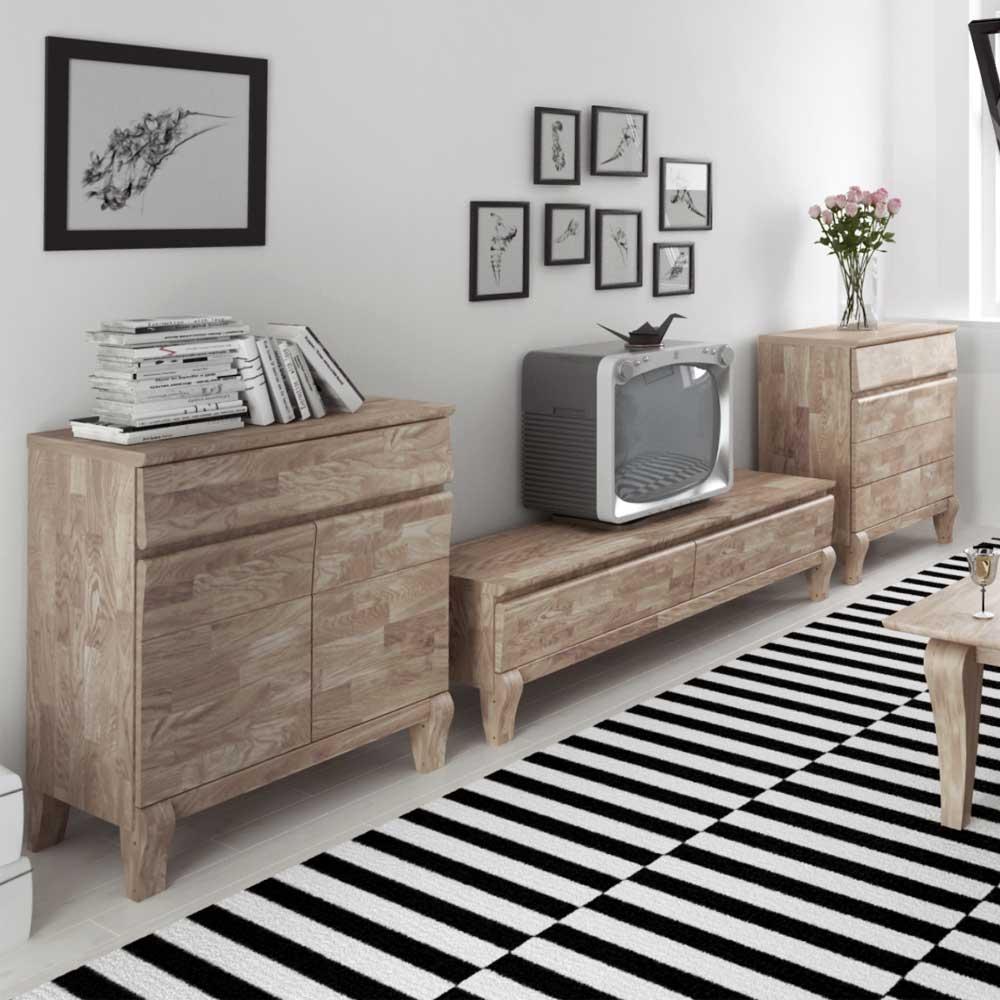 Wohnzimmer Wohnwand aus Eiche Massivholz Weiß geölt (3-teilig)