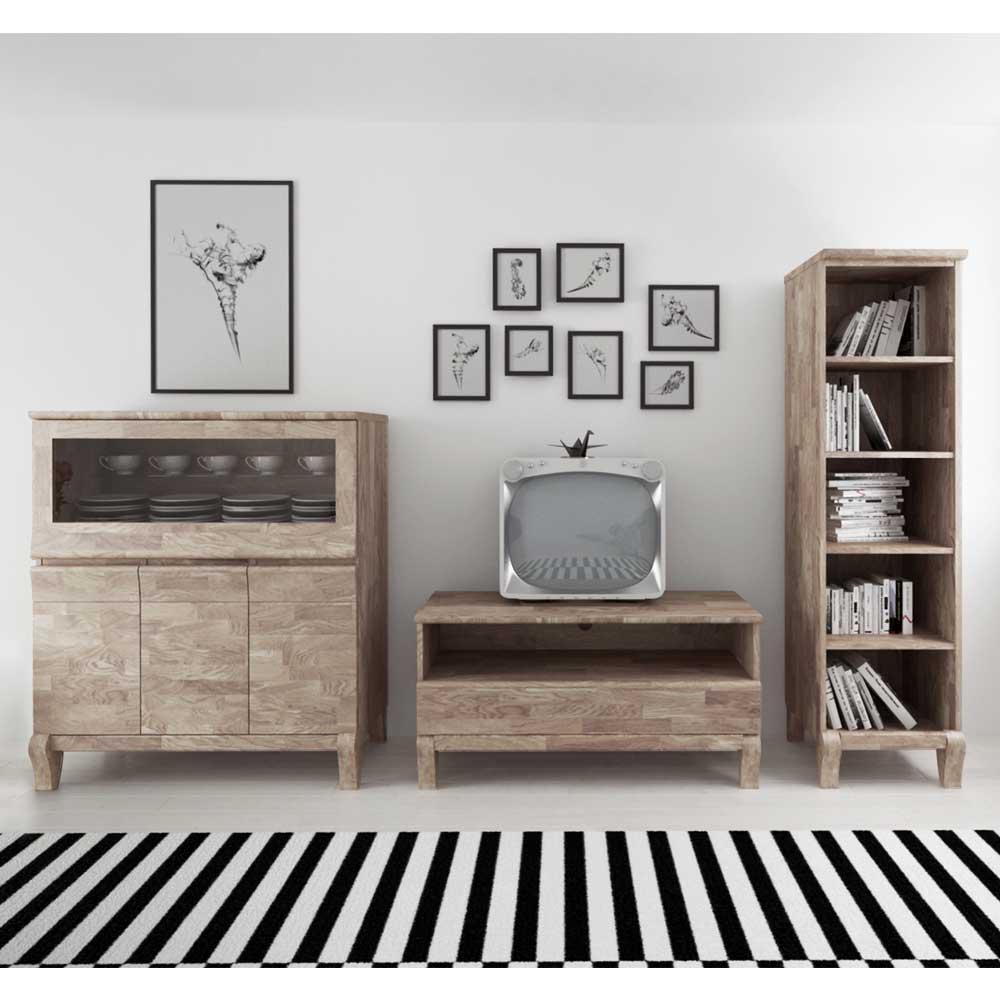 TV Anbauwand aus Eiche Massivholz Weiß geölt (3-teilig)