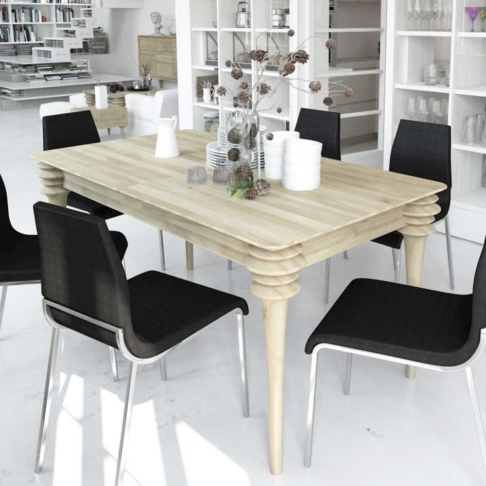 Esszimmertisch weiß geölt Wildeiche Massivholz