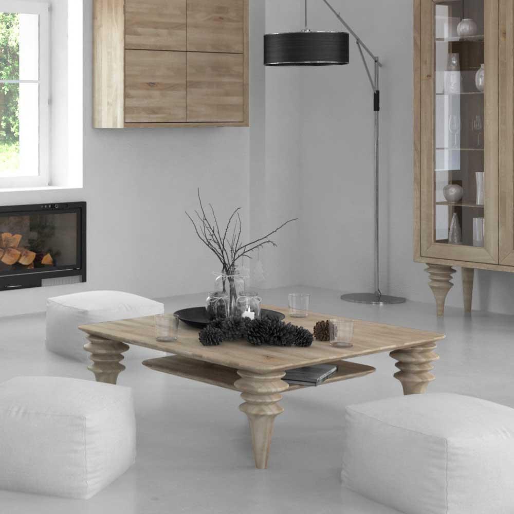 Wohnzimmer Couchtisch weiß geölt Wildeiche Massivholz