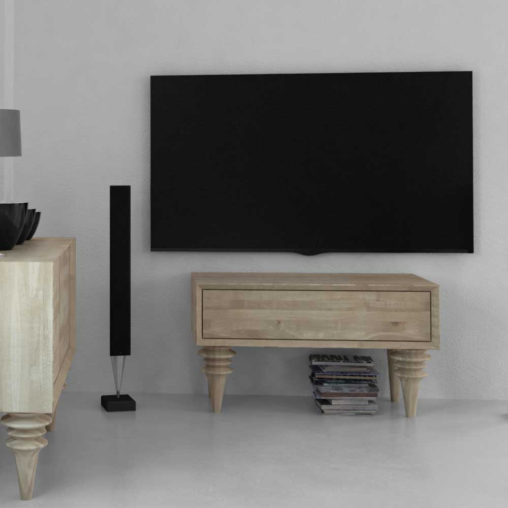 TV Tisch aus Wildeiche Massivholz weiß geölt