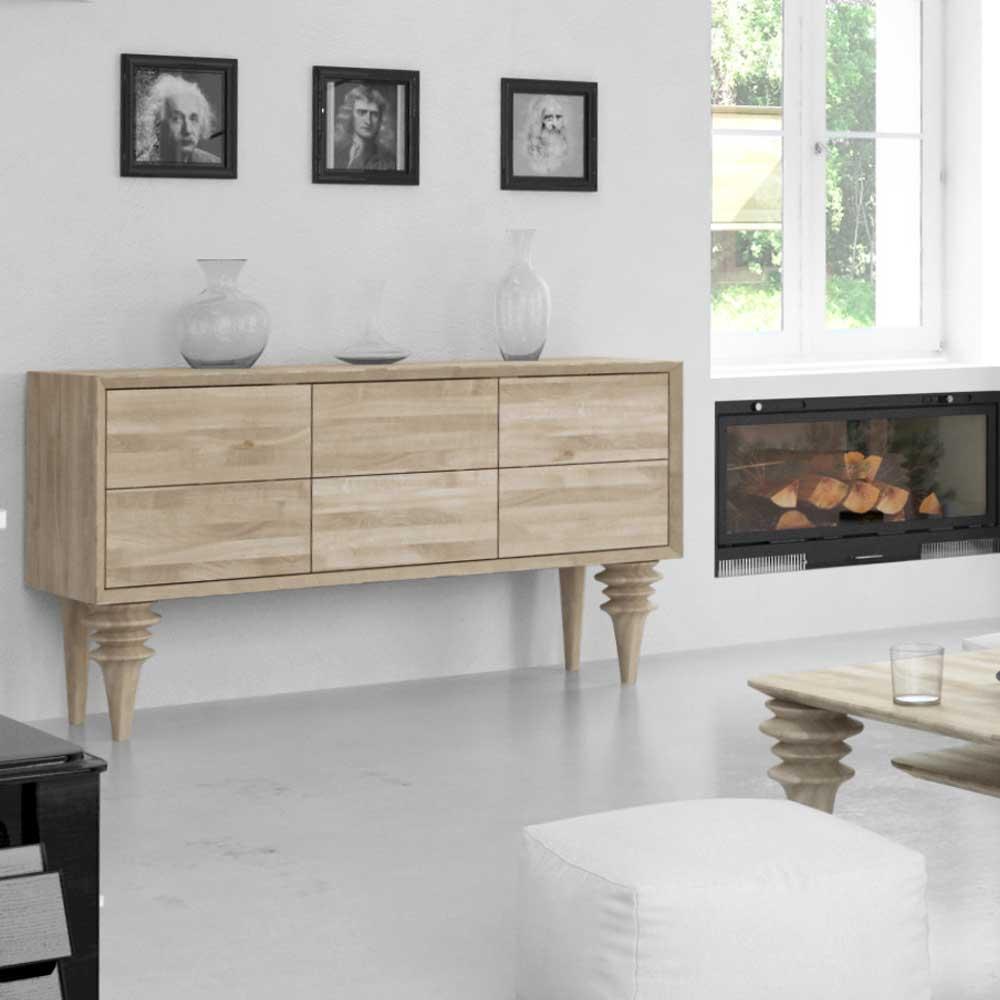 Schubladen Sideboard aus Wildeiche Massivholz weiß geölt