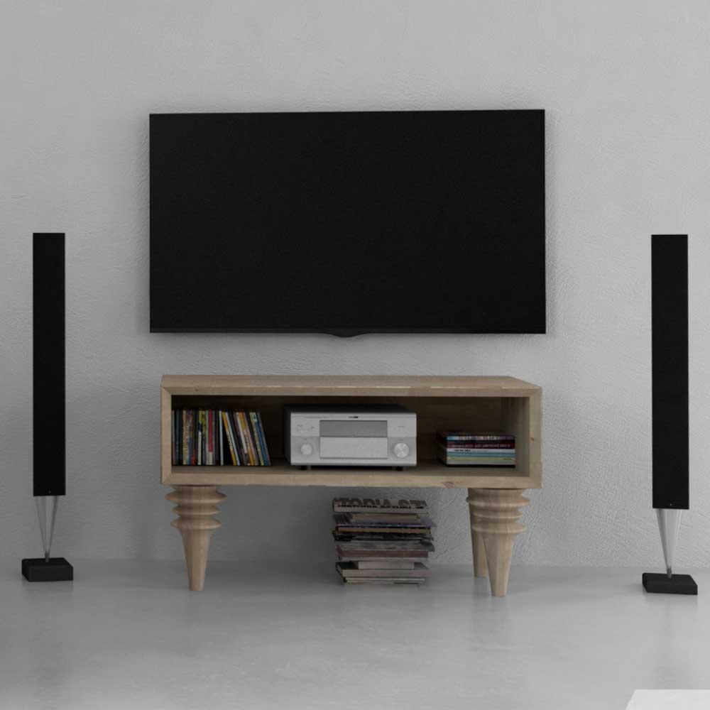 TV Bank aus Wildeiche Massivholz Weiß geölt