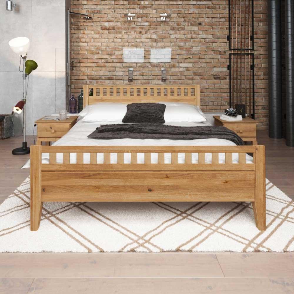 Massivholz Gästebett aus Wildeiche geölt | Schlafzimmer > Betten > Gästebetten | Wildeiche - Massivholz - Holz - Geölt | Basilicana