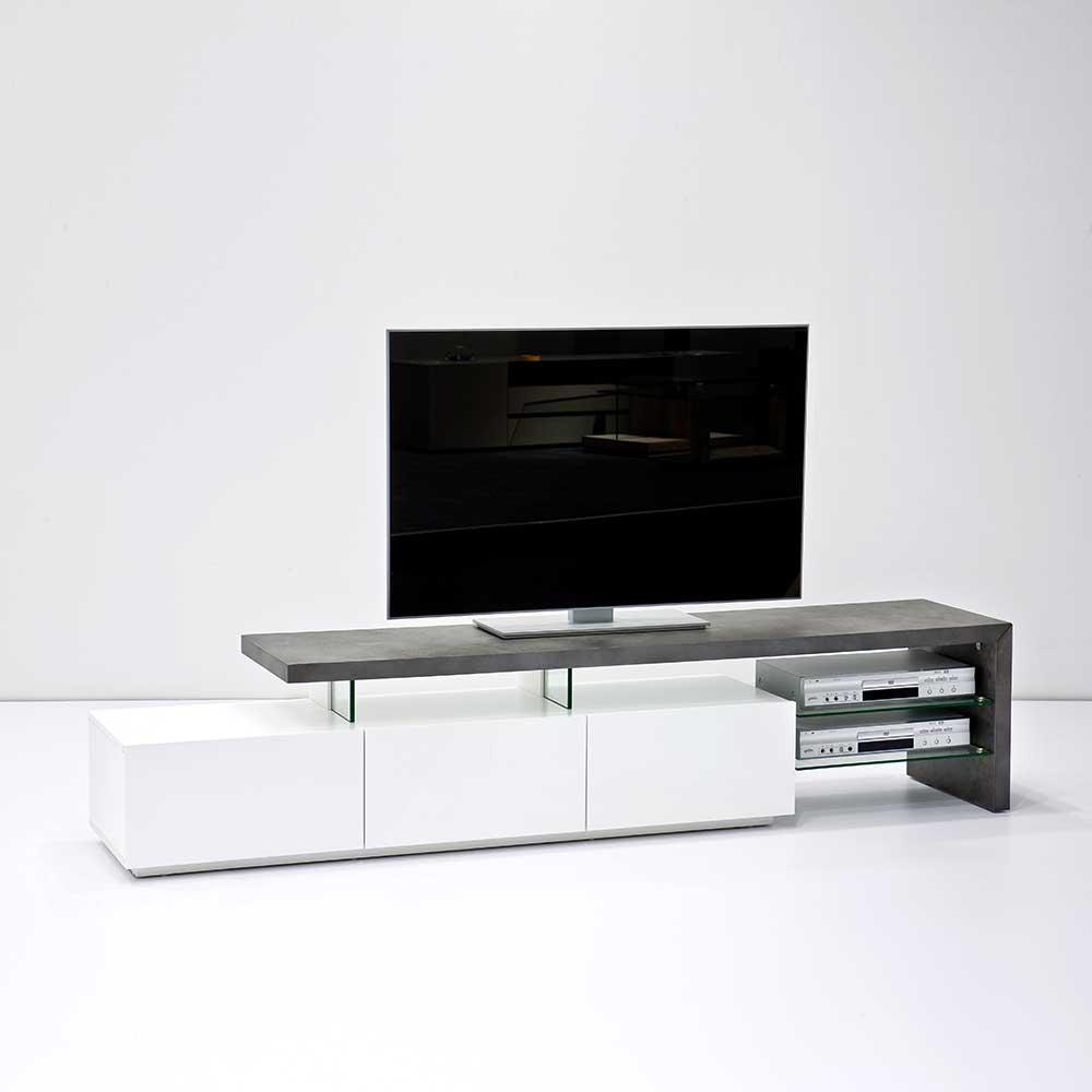 TV Unterschrank in Weiß Grau Beton Optik