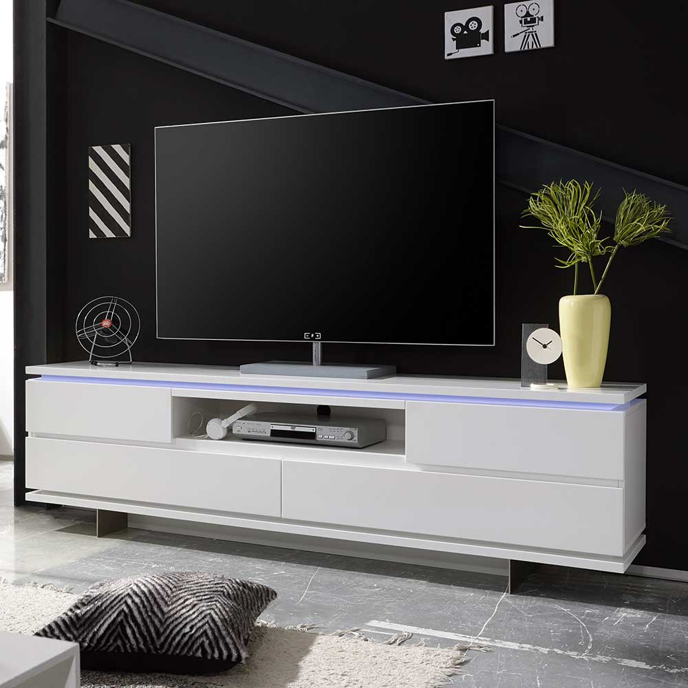 TV Board in Weiß mit LED Beleuchtung