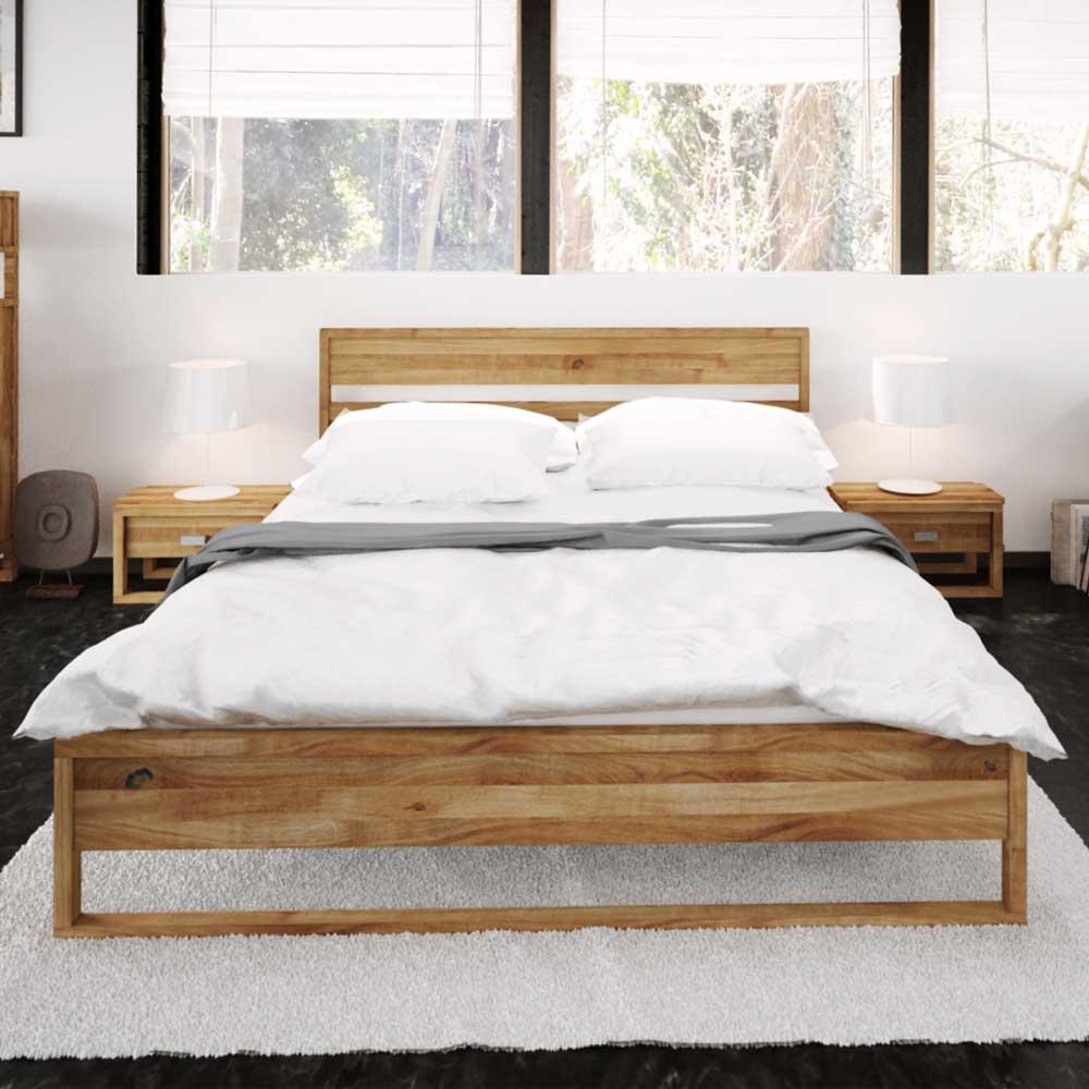 Futonbett aus Wildeiche massiv geölt | Schlafzimmer > Betten > Futonbetten | Holz | Massivholz | Basilicana