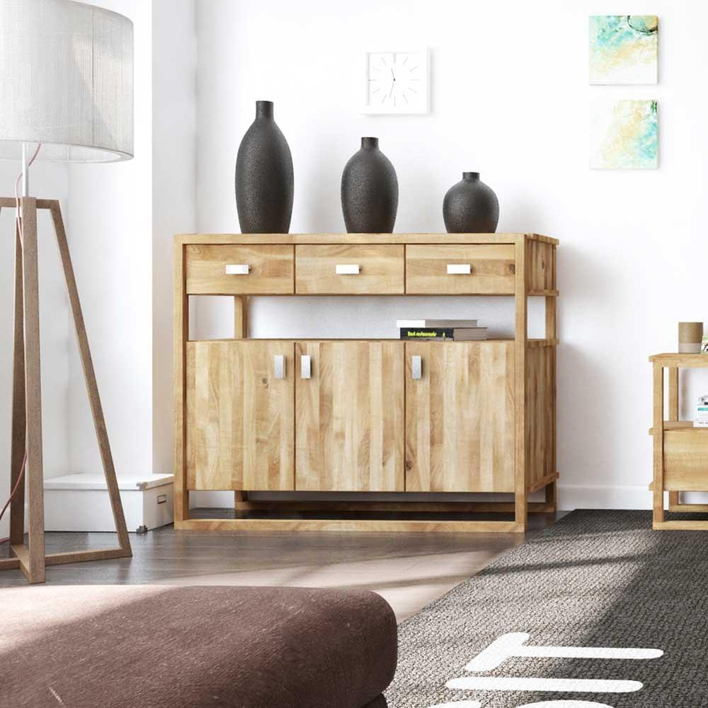 Design Sideboard aus Wildeiche Massivholz 100 cm hoch