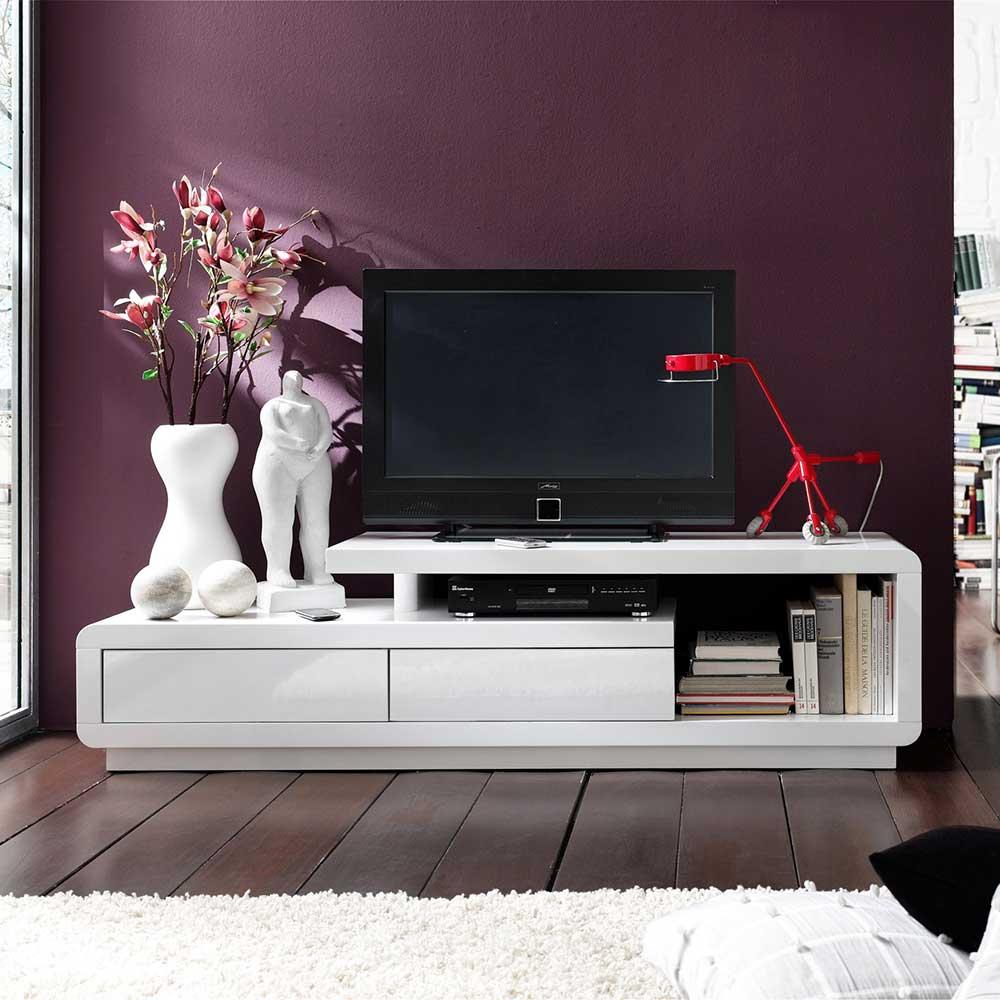 TV Lowboard in Weiß Hochglanz 170 cm breit