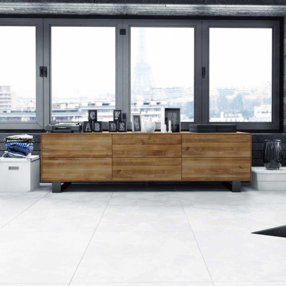 Lowboard aus Wildeiche Massivholz Stahl