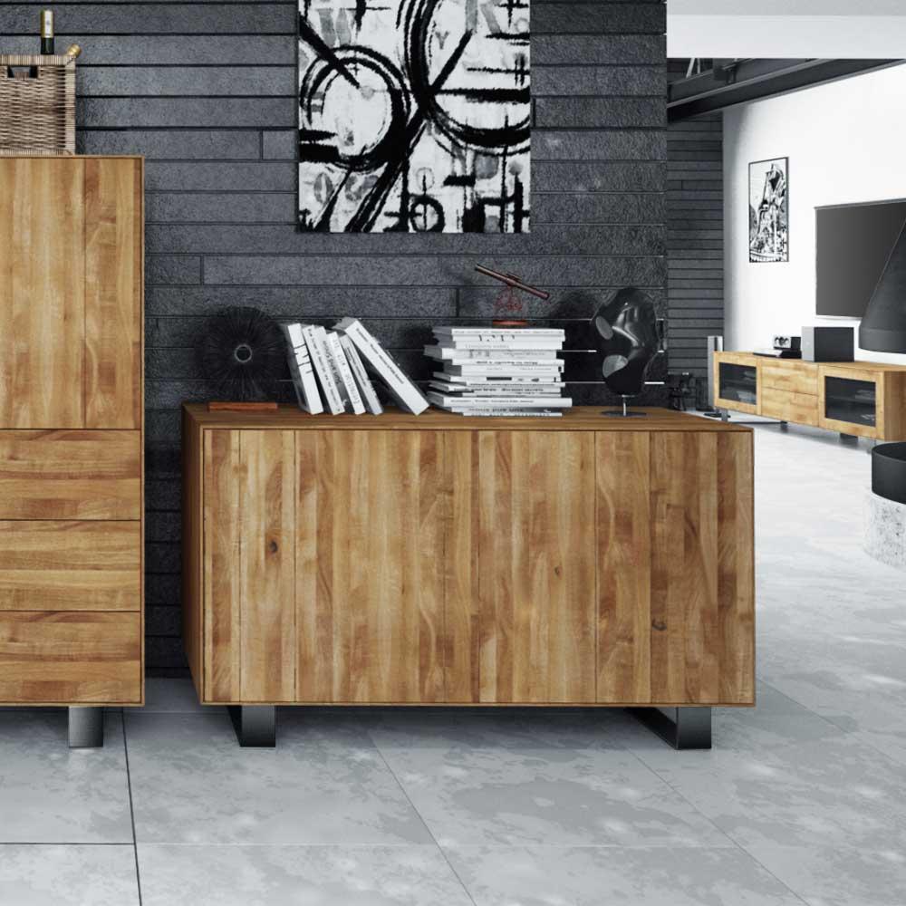 Wohnzimmer Sideboard aus Wildeiche Massivholz Stahl