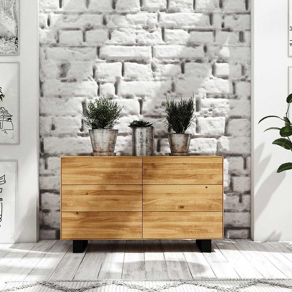 Sideboard mit Schubladen Wildeiche Massivholz