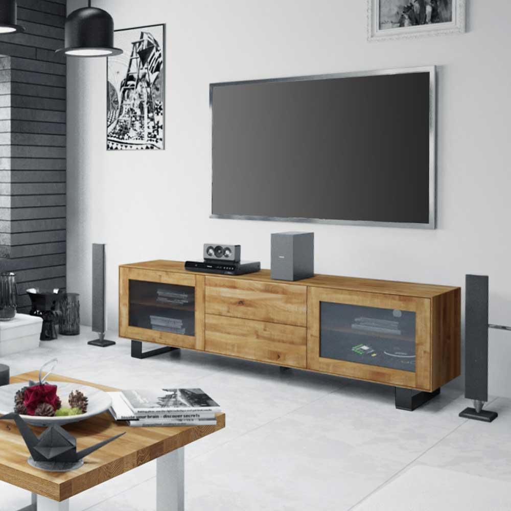 TV Board mit Glastüren Wildeiche Massivholz