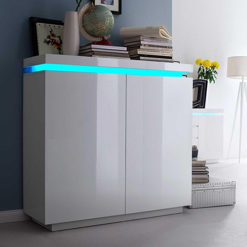 Sideboard mit LED Farbwechsel Beleuchtung Weiß Hochglanz