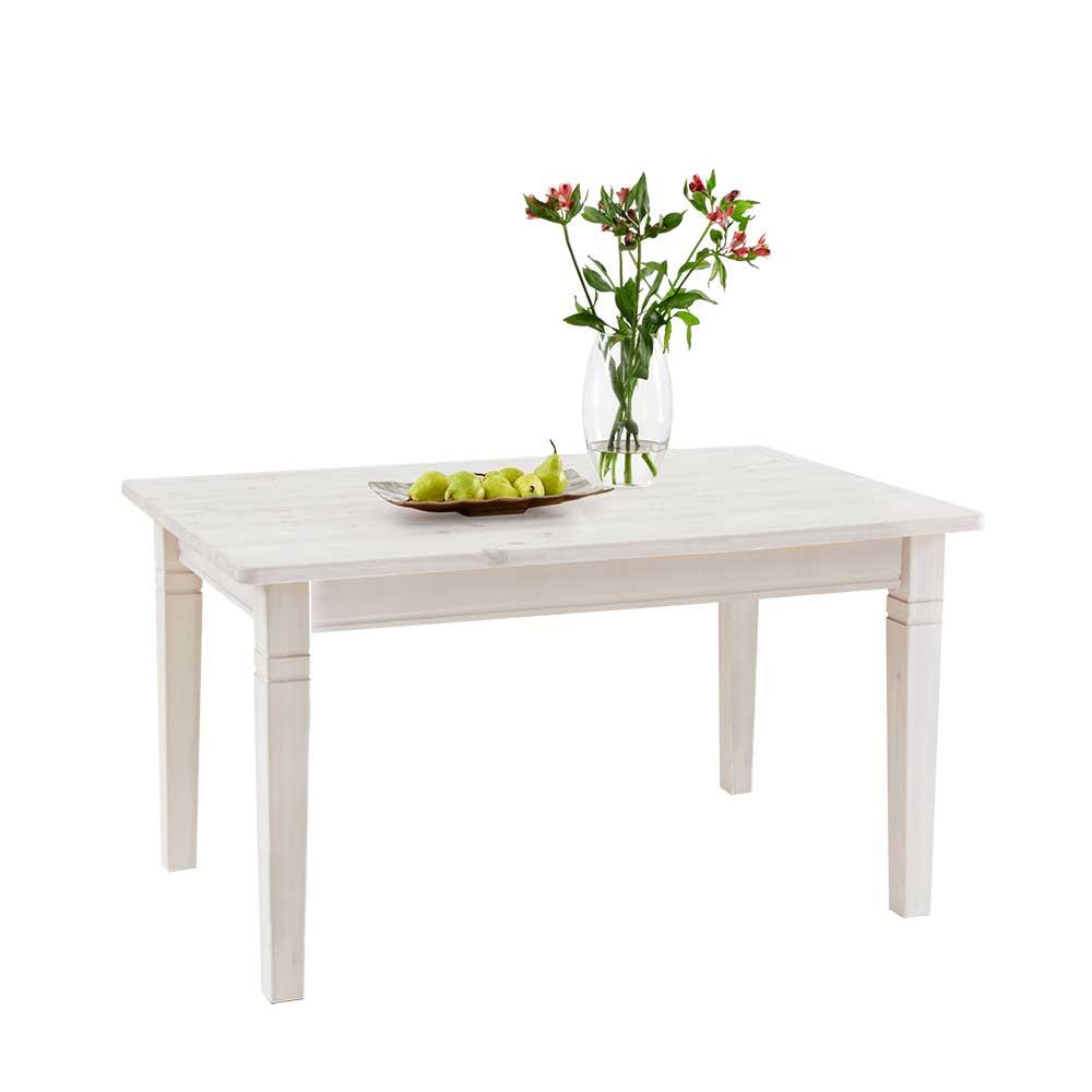 Massivholztisch im Landhausstil Kiefer Weiß