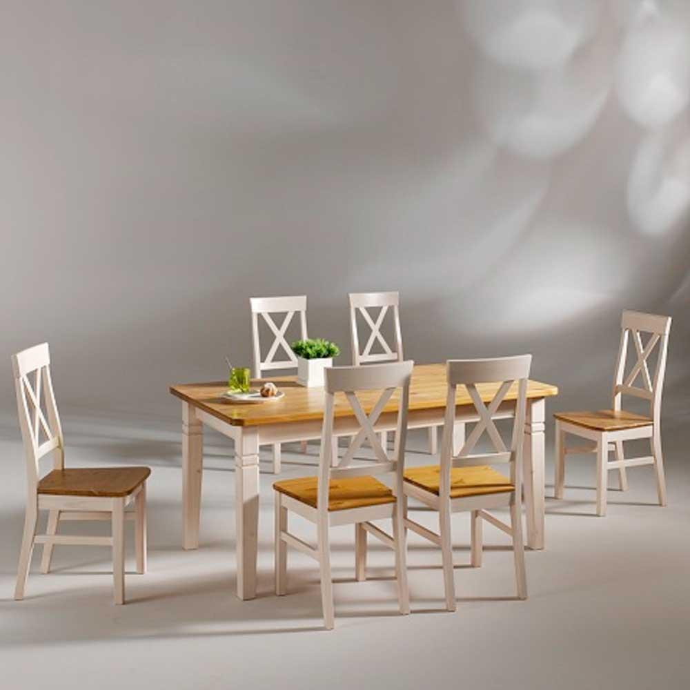 Essgruppe in Weiß Laugenfarben Kiefer massiv Landhaus (7-teilig) | Küche und Esszimmer > Essgruppen > Essgruppen | Life Meubles