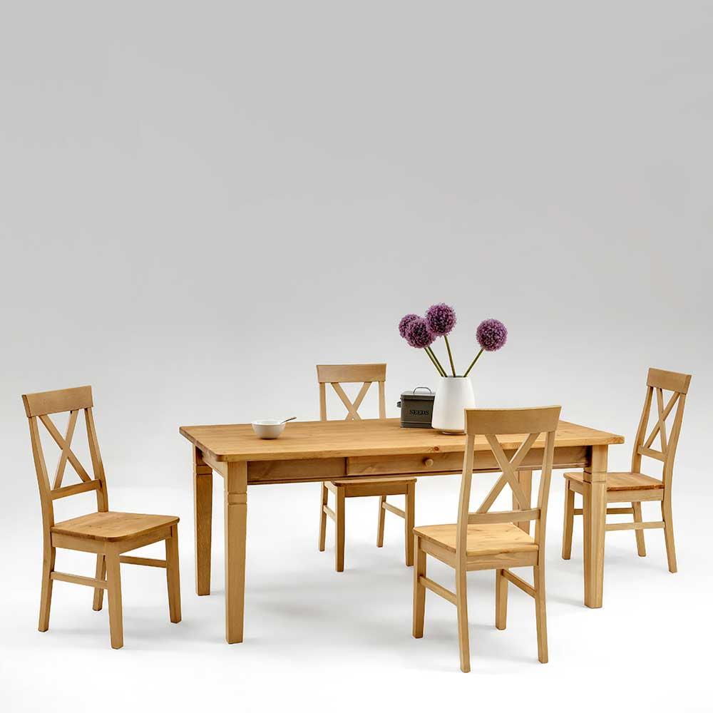 Esstisch mit Stühlen aus Kiefer Massivholz Landhaus (fünfteilig)
