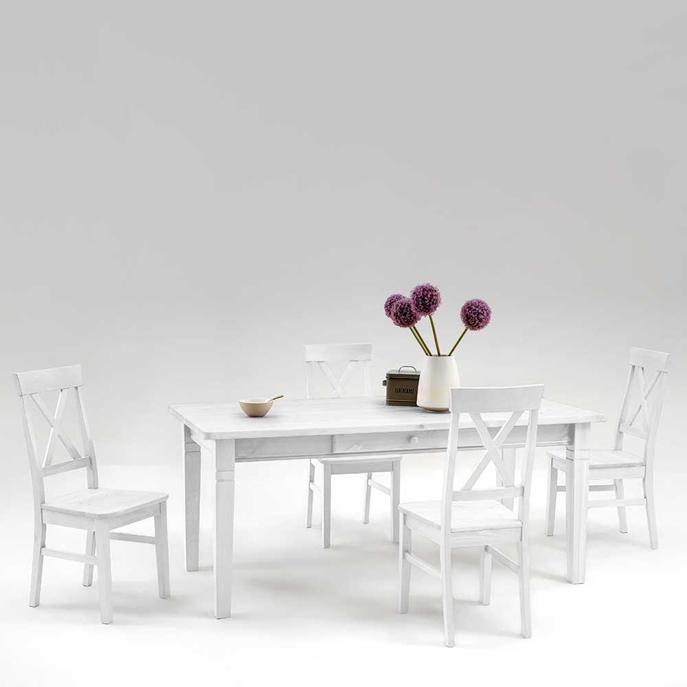 Esstisch mit Stühlen im skandinavischen Landhausstil Weiß Kiefer massiv (5-teilig)