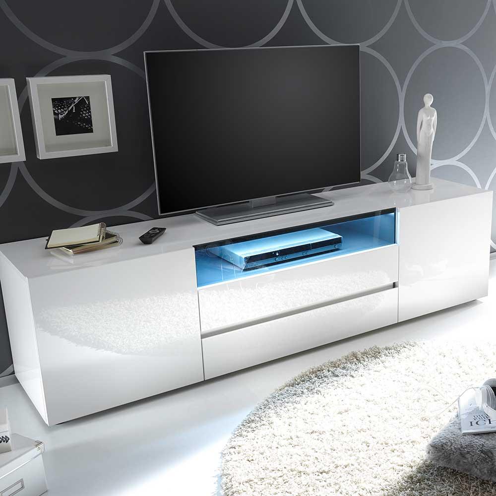 TV Board in Hochglanz Weiß LED Beleuchtung