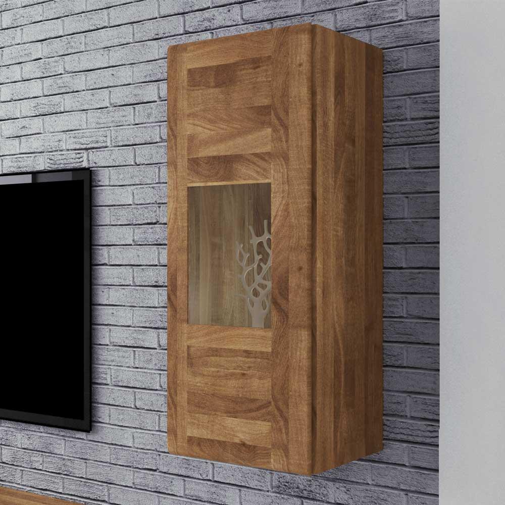 Wandvitrine aus Wildeiche Massivholz 40 cm breit | Wohnzimmer > Vitrinen > Hängevitrinen | Holz | Massivholz | Basilicana