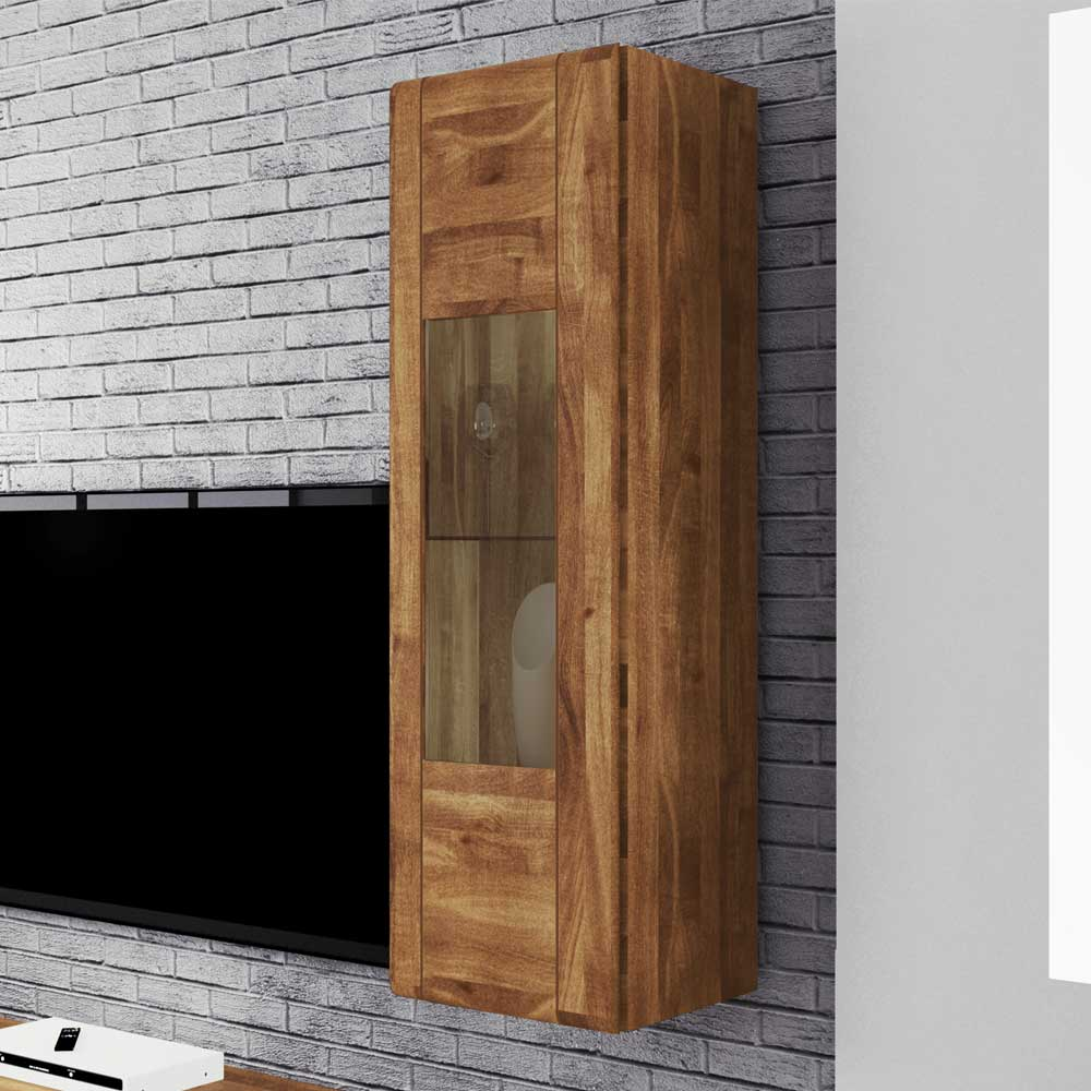 Wandvitrine aus Wildeiche Massivholz 1 türig   Wohnzimmer > Vitrinen > Hängevitrinen   Holz   Massivholz   Basilicana
