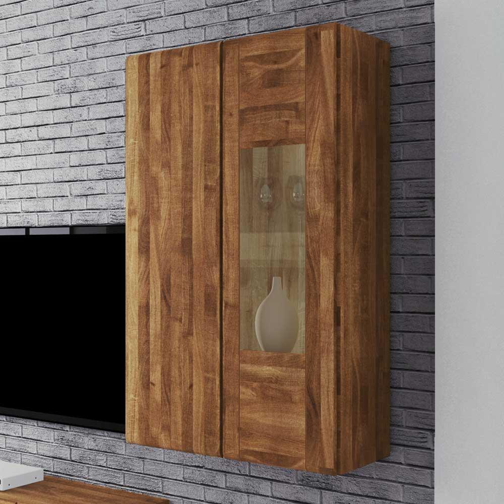 Hängevitrine aus Wildeiche Massivholz 80 cm | Wohnzimmer > Vitrinen > Hängevitrinen | Holz | Massivholz | Basilicana