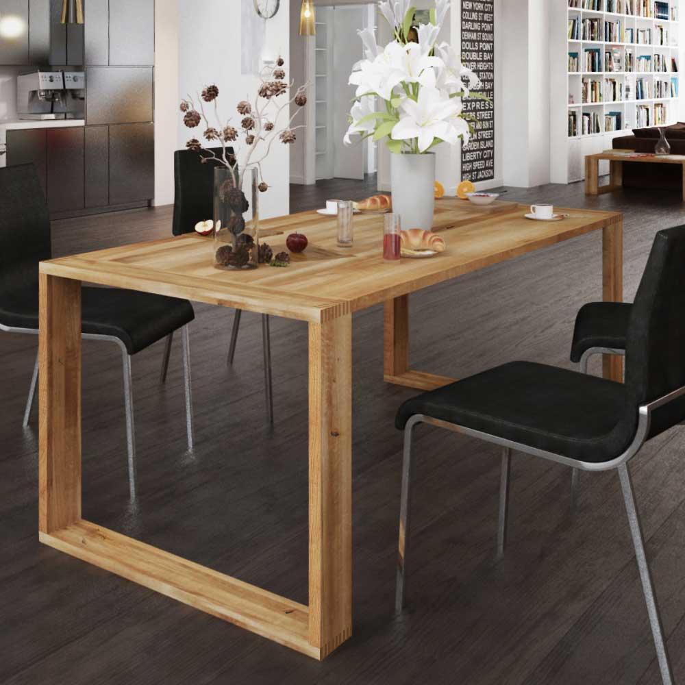 Massivholztisch aus Wildeiche geölt Bügelgestell