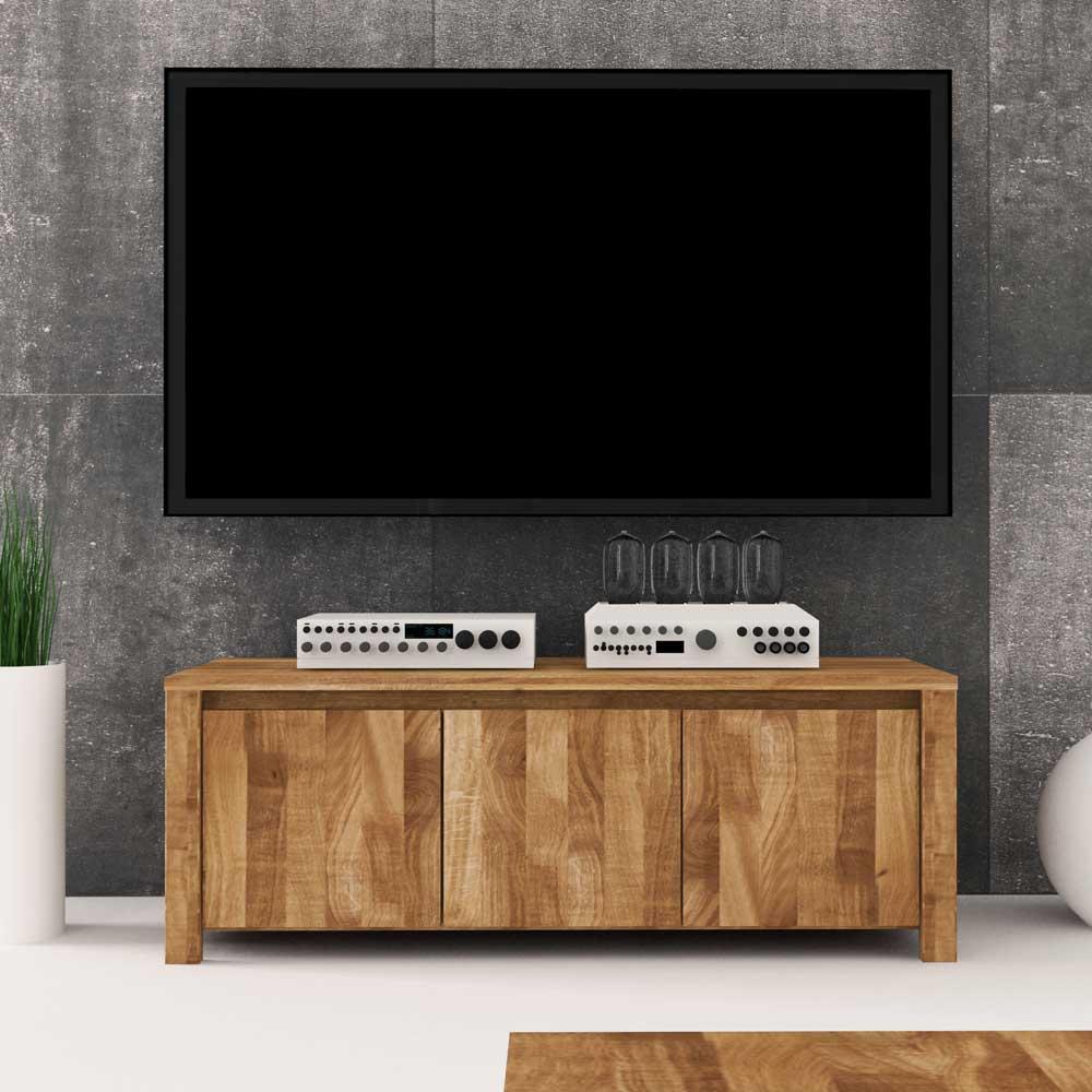 TV Board aus Wildeiche Massivholz 3 Türen