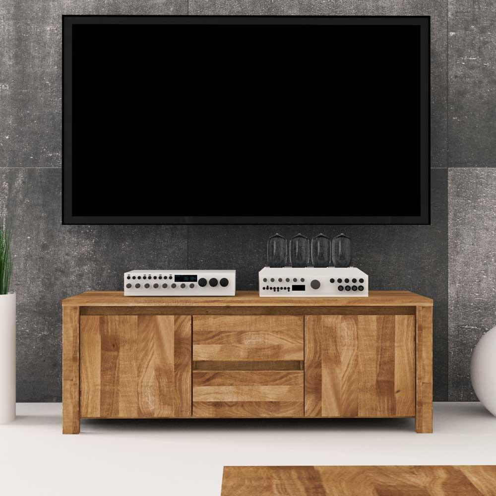 Lowboard aus Wildeiche Massivholz 115 cm