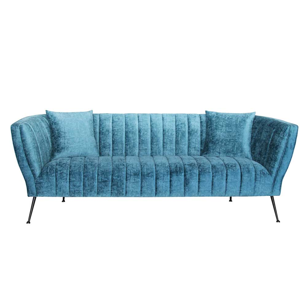 Design Sofa in Türkis Webstoff modern