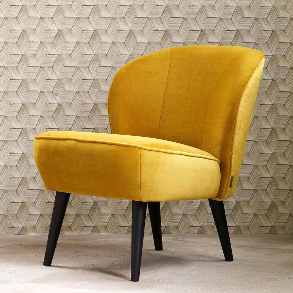 Retro Sessel in Gelb Stoff