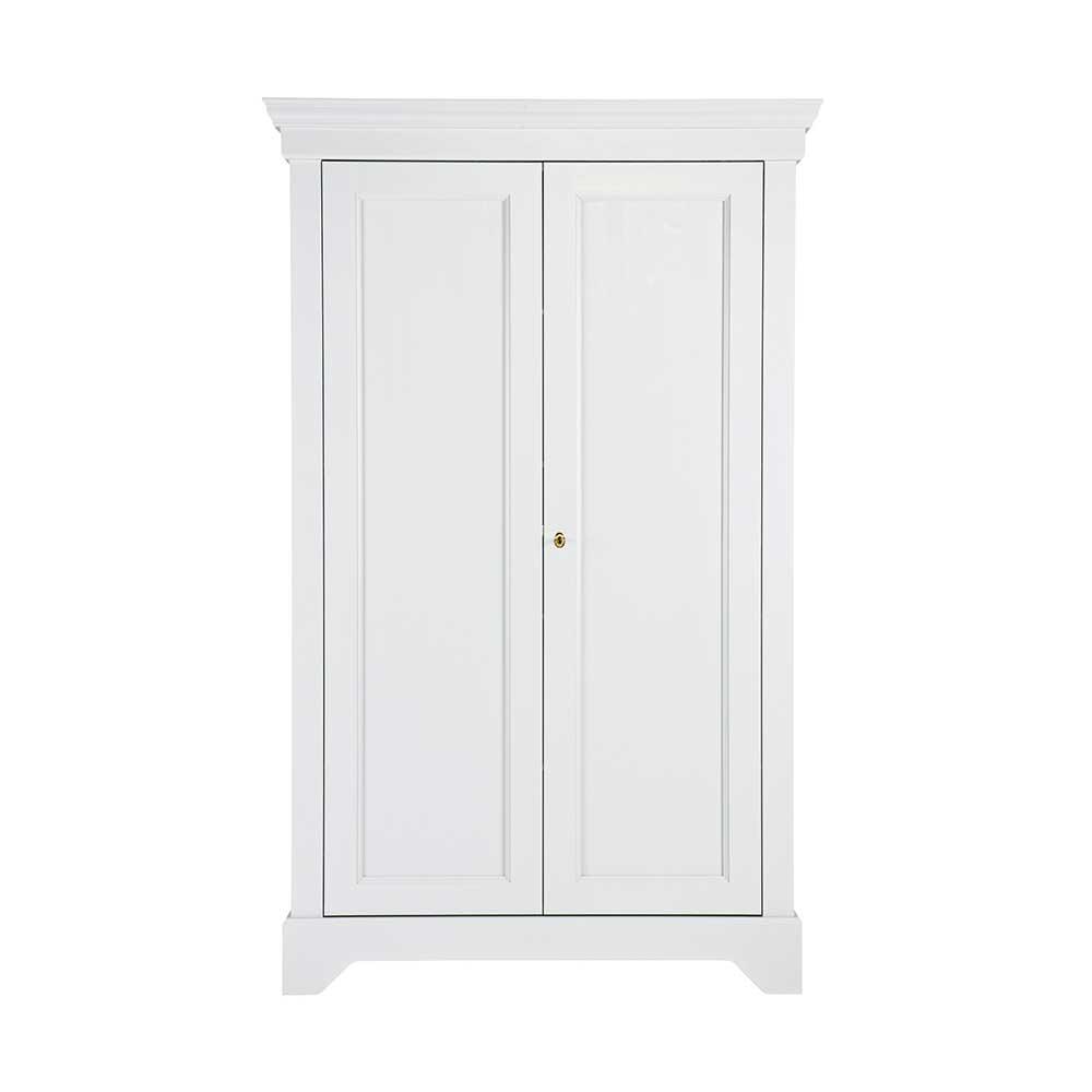 Landhaus Kleiderschrank in Weiß Kiefer massiv abschließbar