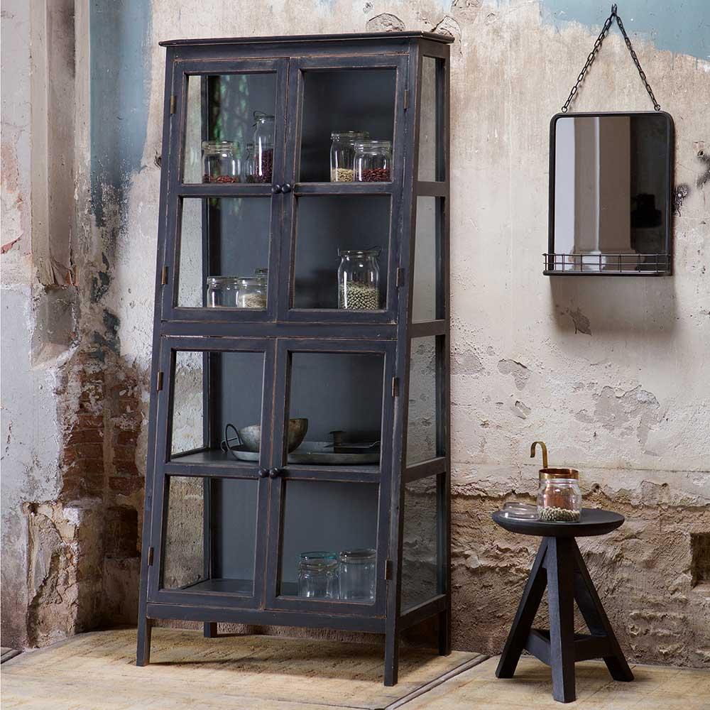 Glasvitrine in Schwarz massiv | Wohnzimmer > Vitrinen > Glasvitrinen | Schwarz | Massivholz - Glas - Holz | Basilicana