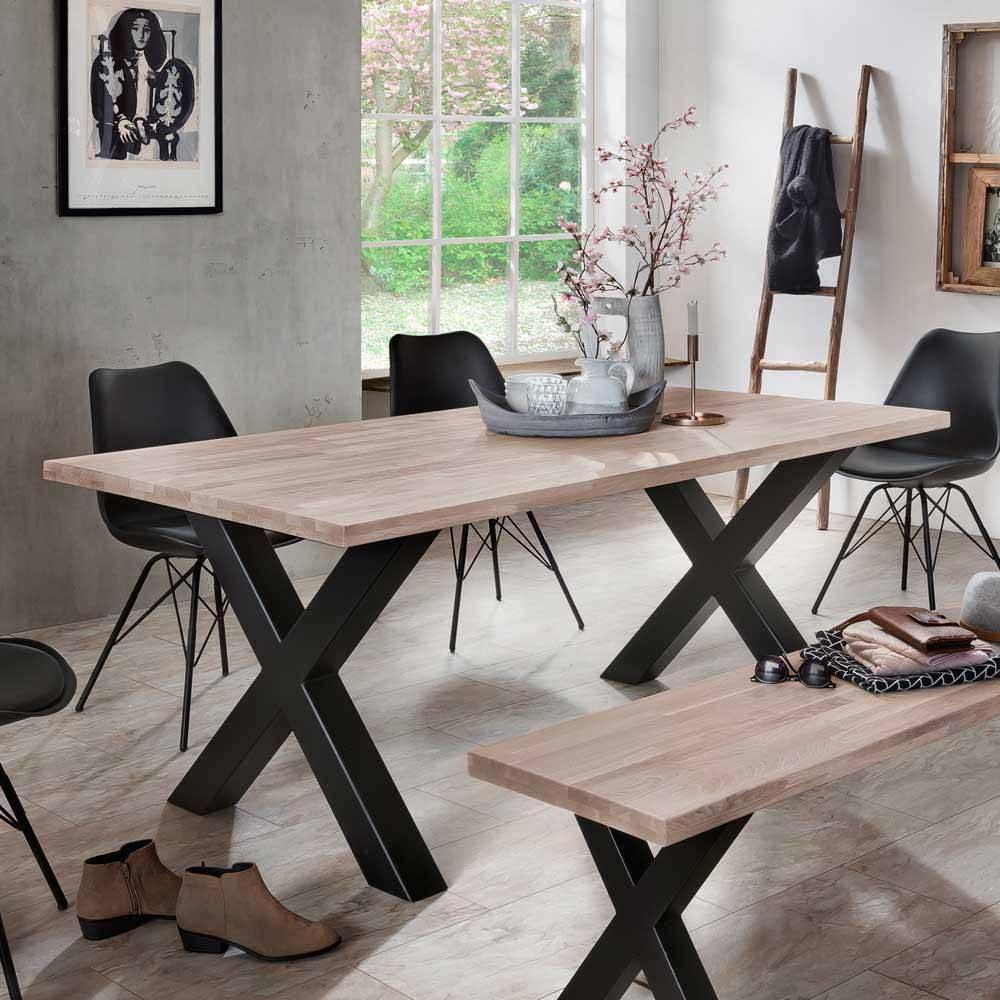 Esszimmertisch aus Wildeiche Massivholz Eisen