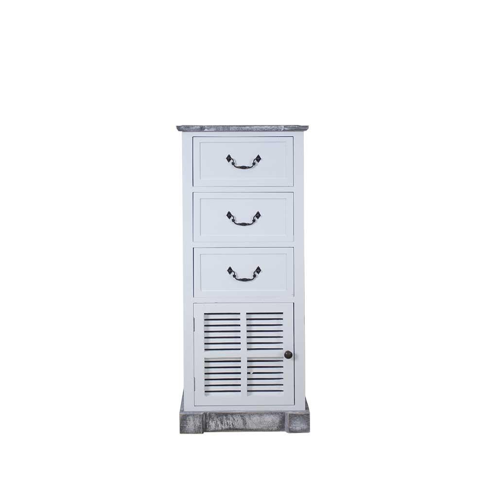 Shabby Kommode in Weiß Grau Tür