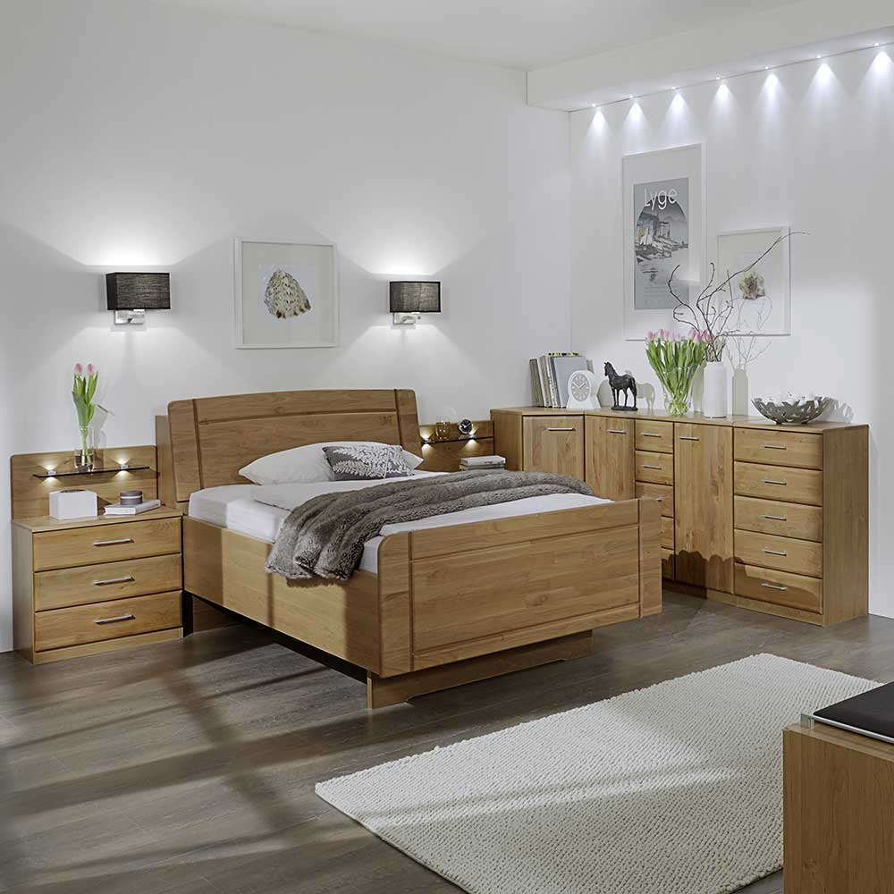 Komfortbett aus Erle lackiert für Senioren