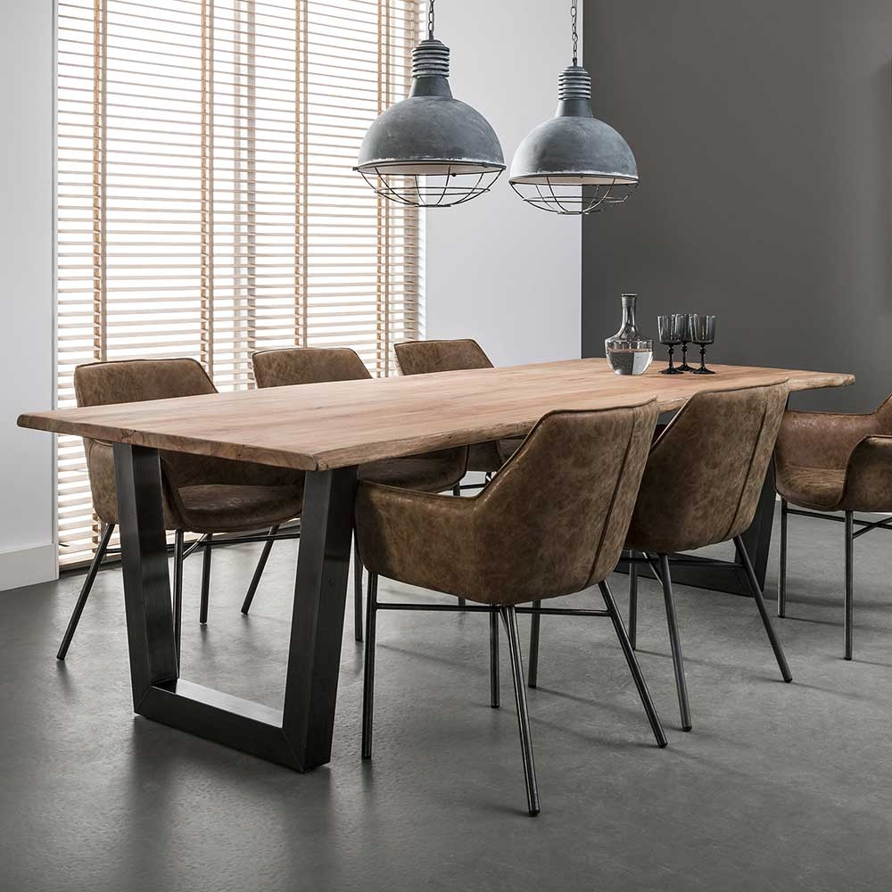 Design Esstisch aus Akazie Massivholz Edelstahl | Küche und Esszimmer > Esstische und Küchentische | Rodario
