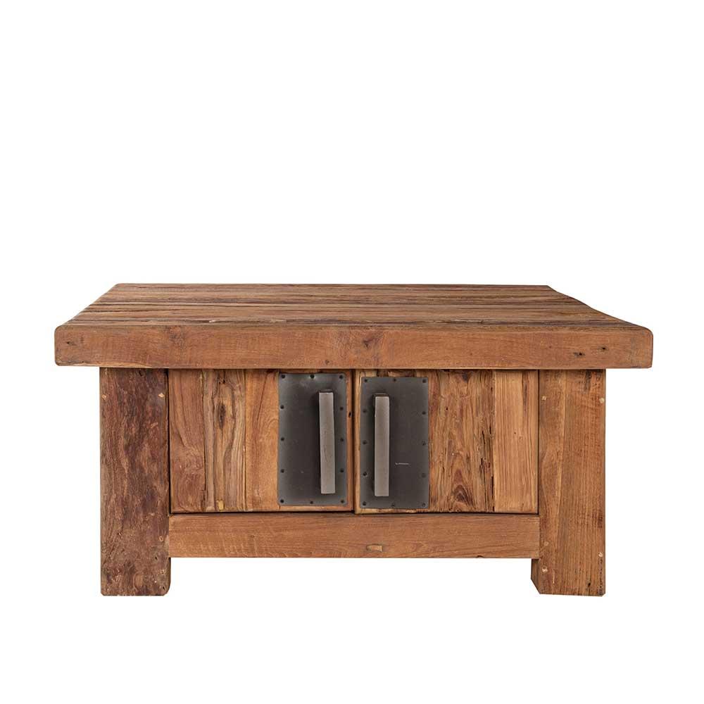 Wohnzimmertisch aus Teak Recyclingholz mit Türen