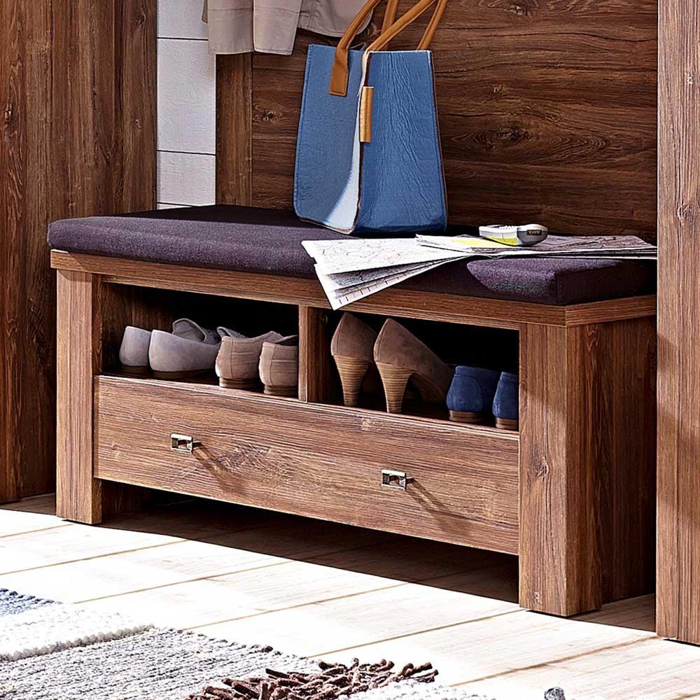 Garderobenbank in Akazie dunkel Schuhablage | Flur & Diele > Garderoben > Garderobenbänke | Holz | Holzwerkstoff | BestLivingHome