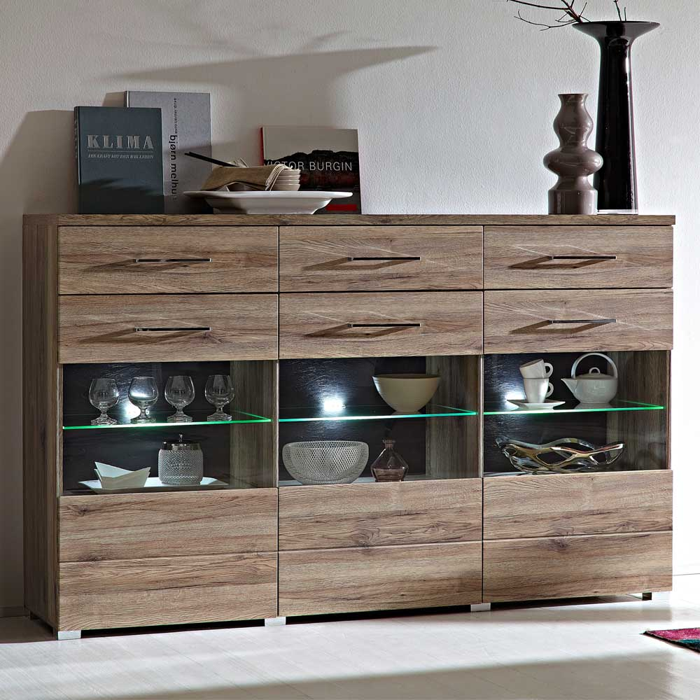 Design Sideboard in Eiche San Remo LED Beleuchtung